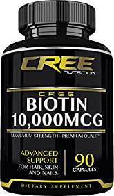 CREE Nutrition Biotin Advanced Support For Healthy Hair, Skin & Nails - 10,000 mcg - Maximum Strength - 90 Capsules - Helps Prevent Splitting & Brittle Fingernails - Supports Cellular Energy