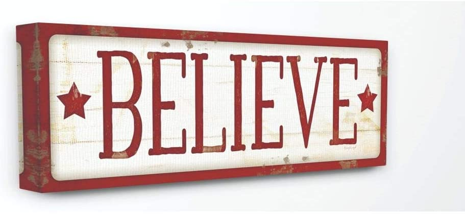 Stupell Industries Believe Sign Red Christmas Holiday Word Design Canvas, 10 x 24, Multi-Color