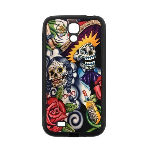 Sugar Skull Day of the Dead Protective Rubber Cell Phone Cover Case for SamSung Galaxy S4,SIV Cases