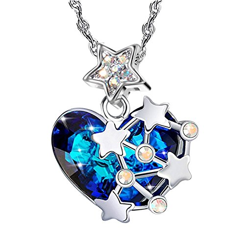 Designer Star Necklace - Milin Naco Moon And Star Blue Crystal Jewelry Heart Pendant Necklace For Women