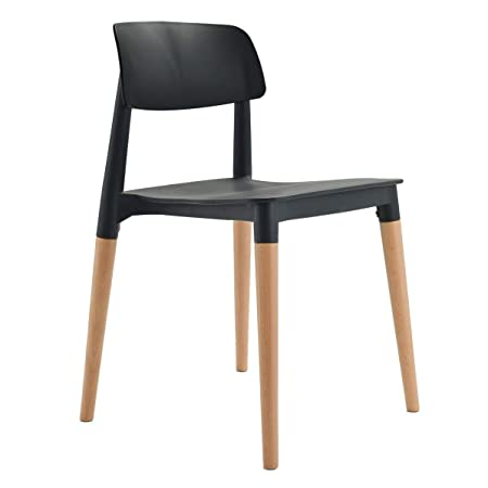Finch Fox Bella Dining Chair/Cafeteria Chair/Cafe Chair/Armless Side Chairs Molded ABS Plastic with Wood & American Mid-Century Styling (Black)