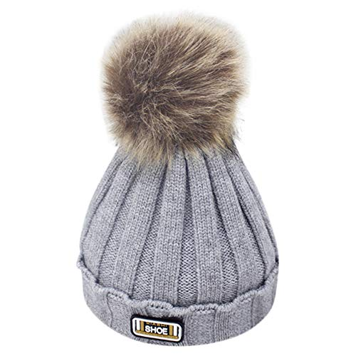 Esharing Girls and Boys Unisex Knit Cable Vintage Element Fashion Colorful Label Pompom Beanie Cap Bullet Hats (Gray)