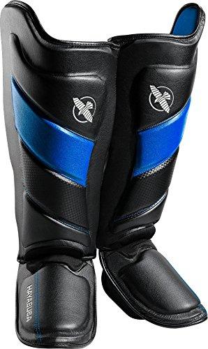 Hayabusa Shin Guards   T3 Muay Thai and Kickboxing   Men and Women   Black/Blue   - Worth Guard Knee Shin