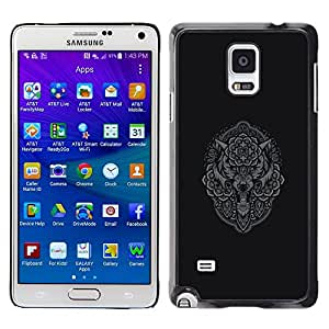 Plastic Shell Protective Case Cover || Samsung Galaxy Note 4 SM-N910 || Grey Owl Wolf Native Pattern Indian @XPTECH