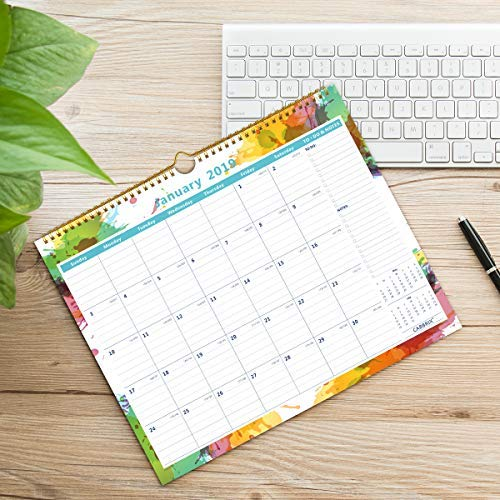 "Cabbrix 2019 Monthly Wall Calendar, 15"" x 12"", Wirebound, Flexible Monthly Daily Designer for Office & Home"