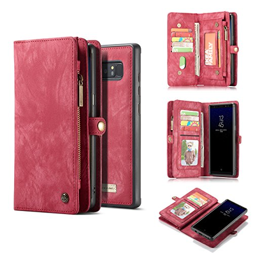 Galaxy Note 8 Case,AKHVRS Handmade Premium Cowhide Leather Wallet Case,Zipper Wallet Case [Magnetic Closure]Detachable Magnetic Case & Card Slots for Samsung Galaxy Note 8 - Red