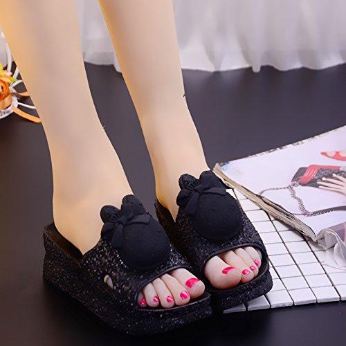 indoor Cartoon soggiorno di 36 pantofole pantofole nero nbsp;Estate Home cool bagno estivo spessore slittamento anti donne carino Fankou 5nSx0Hqw8
