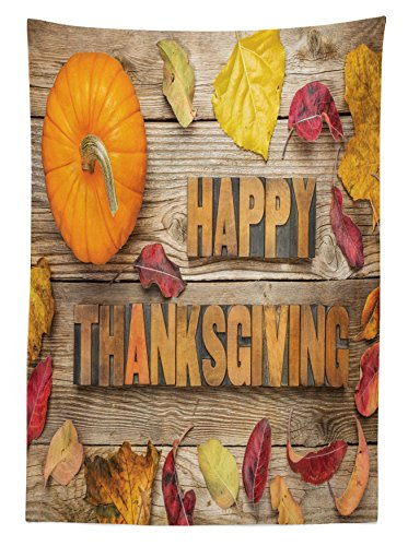 Lunarable Thanksgiving Outdoor Tablecloth, Vintage Letterpress Wood Blocks Rustic Planks Pumpkin Dry Leaves Print, Decorative Washable Picnic Table Cloth, 58 X 104 inches, Cocoa Orange Red by Lunarable (Image #1)