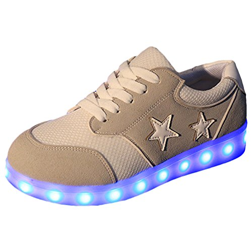 Azbro Women's Fashion Pentagram Print Rechargeable LED Light-Up Sneakers, Grey EURO39/US8/UK6