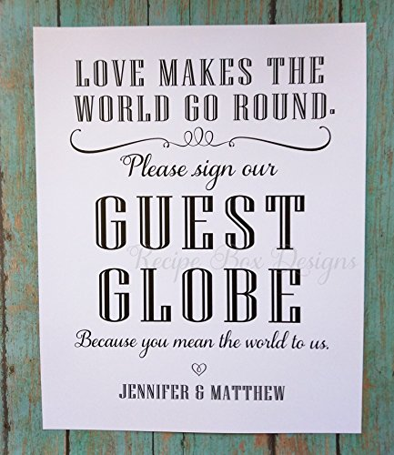 Love makes the world go round. Please sign our Guest Globe 8x10 Wedding Sign. Alternative Guest Book Sign Customize for you. non - Customize You