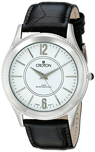 CROTON Men's CN307502BSDW Heritage Analog Display Japanese Quartz Black - White Croton Mens Dial