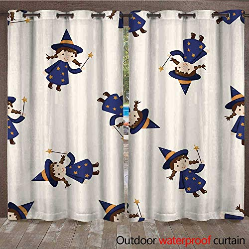 RenteriaDecor Outdoor Curtains for Patio Sheer Halloween Party Costume Cartoon Seamless Pattern Background W96 x L108 ()