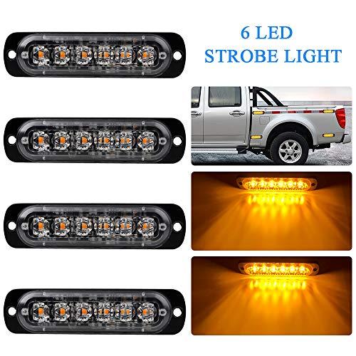 - 4pcs Ultra Thin 6 LED Amber Warning Emergency light Flash Caution Strobe Light Bar Surface Mount Beacon for Car Vehicle Truck Trailer Caravan Van Motorcycle 12-24V