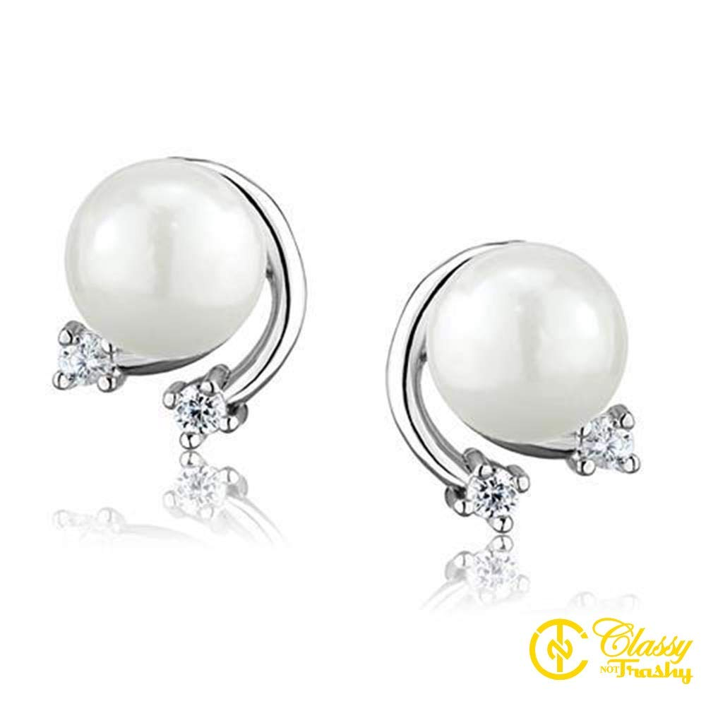 Classy Not Trashy White Faux Pearls With Flowers Womens Earring
