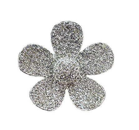 Bestbling Crystal Bling Sparking Car Fragrance Flower Car Diffusser Air Freshener with Vent Clip (Silver)