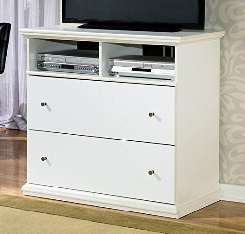Ashley Furniture Signature Design - Maribel Media Chest - Entertainment Console Table - 2 Drawer - Industrial Style - White