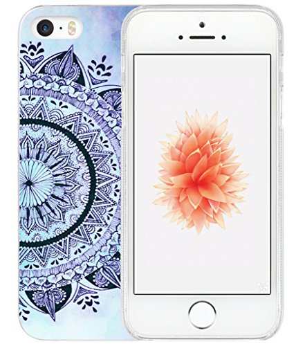 Case for iPhone SE 5S Blue/IWONE Designer Non Slip Rubber Durable Protective Replacement Skin Transparent Cover Shockproof Compatible for iPhone 5S/5/SE + Blue Pattern Print Flexible TPU Cover Bumper
