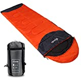 Yodo Warm Weather Sleeping Bag 40-60 Degree F – Water-resistant Lightweight with Compression Sack – Great for 3 Season Traveling, Camping, Hiking, & Outdoor Activities, Left Zip, Orange For Sale