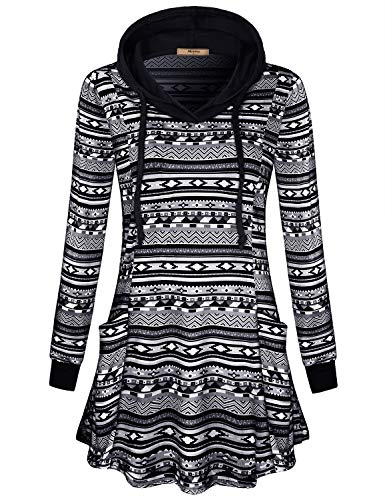 Miusey Tunic Tops for Leggings for Women,Female Fashionable Color Block 2-Tone Raglan Pocket Houndstooth Flattering Hoodies Maternity Autumn Knit Large Size Baggy Sweaters Grey XXL