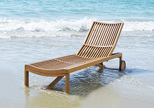 Lounger Teak Chaise Adjustable (Stockholm Sun Lounger | Outdoor Patio Adjustable Chaise Lounge chair | Folding sleeping chair, Golden Teak Finishing)