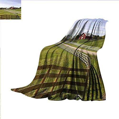 smallbeefly Farmland Digital Printing Blanket Long Photo of Flowing Fence of Country House in Rural Grassland Ranch Pastoral Summer Quilt Comforter 80