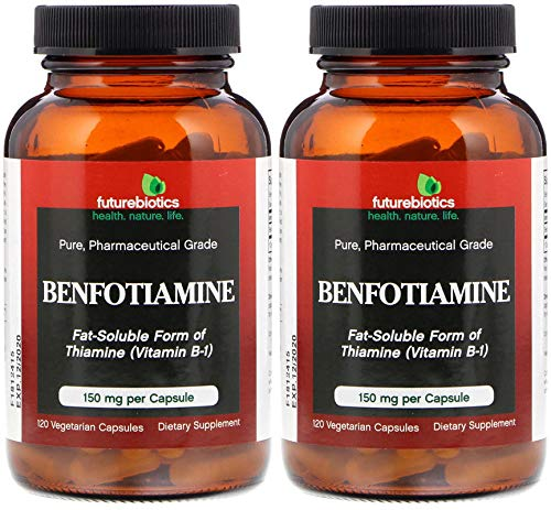 Benfotiamine 150 mg (Pack of 2) Fat Soluable Form of Thiamine, 120 Count Each