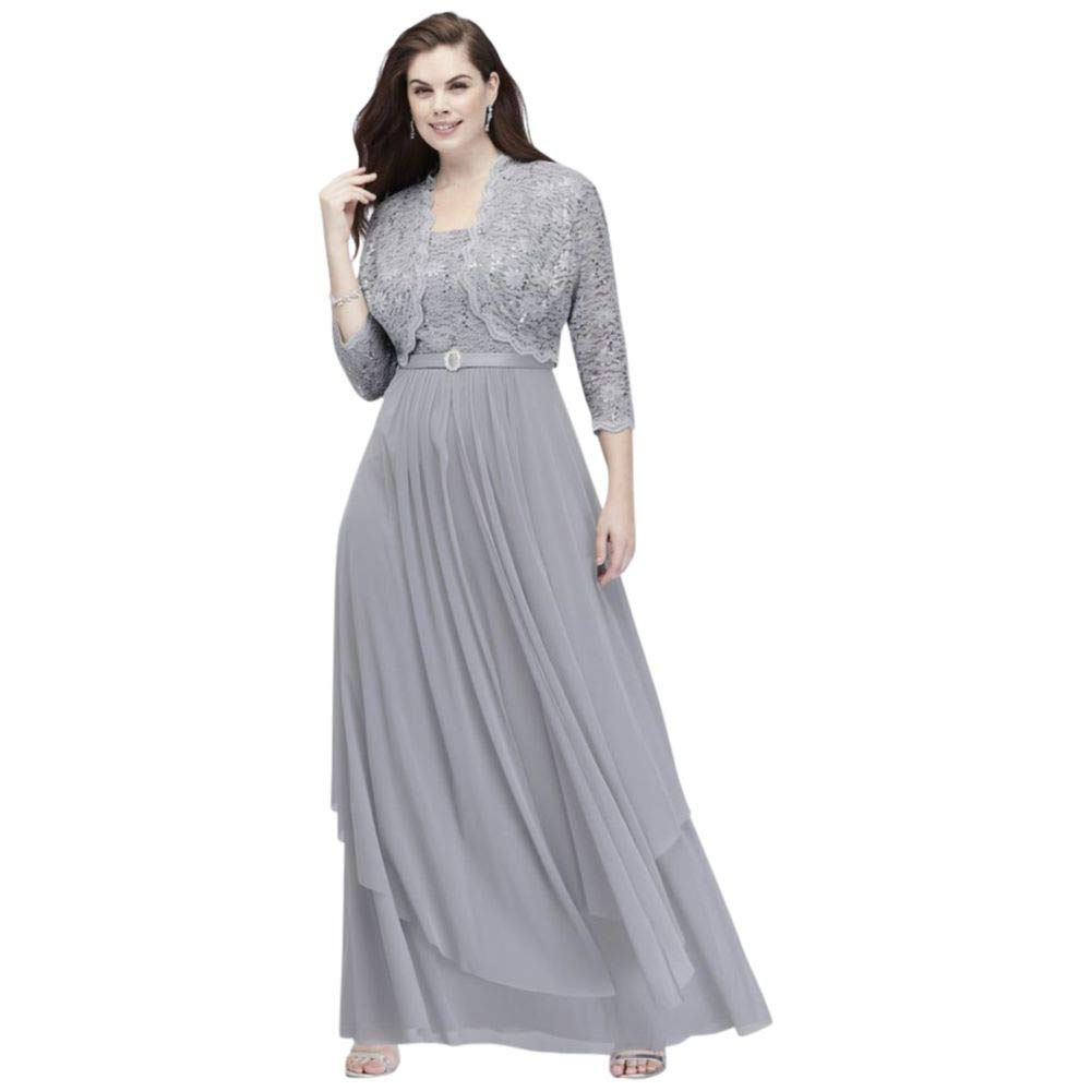 Plus Size Sequin Lace and Mesh Jacket Mother of Bride/Groom Dress with  Overskirt Style 7300W, Silver, 18W