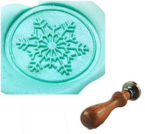 MDLG Vintage Custom Fancy Christmas Snowflake Personalized Picture Letter Logo Retro Invitation Wax Seal Stamp Rosewood Handle Set