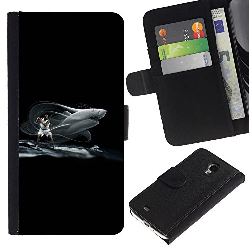Price comparison product image GIFT CHOICE / SmartPhone Cell Phone Leather Wallet Case Protective Cover for Samsung Galaxy S4 Mini i9190 / / Shark Basketball /