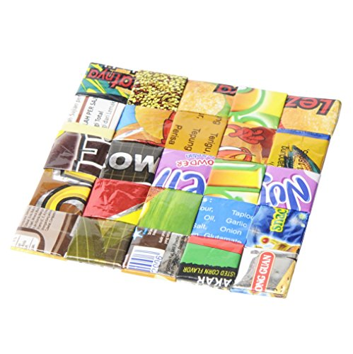 Set of 5 coasters made from candy wrappers - Free shipping - home decoration interior design sweet gum wrapper Fair trade ethical fun present presents cute finds inspiring alternative ideas functional by Upcycling by Milo