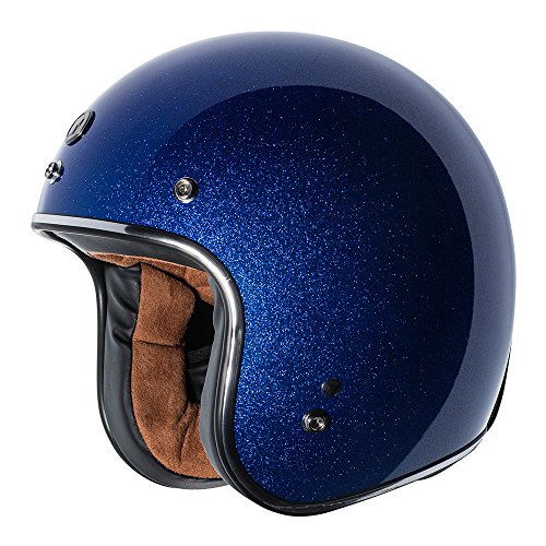 TORC Unisex-Adult Open-face Style (T50 Route 66) 3/4 Motorcycle Helmet with Solid Color (Blueberry Mega Flake), ()