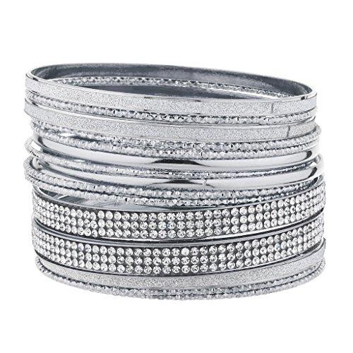 Lux Accessories Silvertone Sticker Glitter Pave Crystal Rhinestone Bangle Bracelet (3 Rhinestone Bangles)