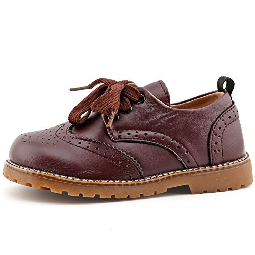 CCTWINS KIDS Toddler Little Kid Girl Boy Dress Oxford Leather Shoe(G9771brown/purple22)
