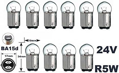 Bombilla incandescente de 24 voltios, 10 unidades, R 5 W, BA15d, 5 vatios, bombillas de cristal Con certificado E y autorizado para el transporte por carretera. INION®.