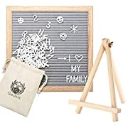 Gamit Felt Letter Board Oak Wooden Frame 10 x 10 inches,Letter Organzier with Stand,338 White letter and Symbols, Black,Grey Changeable Felt Letter Board perfect gift.