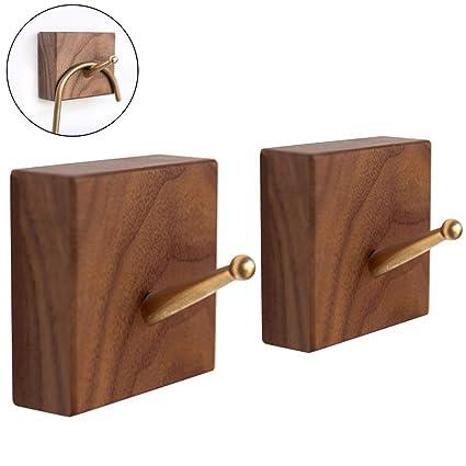 WINGOFFLY - Perchero de pared de madera natural con ganchos ...