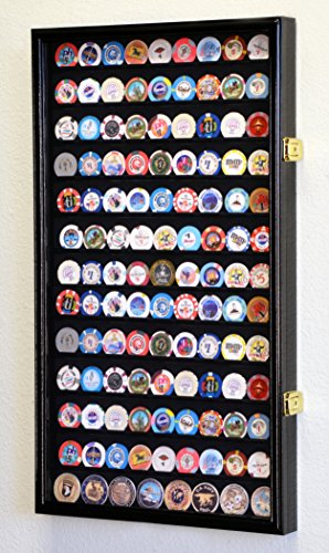 (Large Casino Coin Chips Display Case Cabinet Holder w/UV protection acrylic Door, Black)