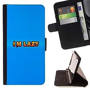 HTC One M9 - Dibujo PU billetera de cuero Funda Case Caso de la piel de la bolsa protectora Para (I'M Lazy)