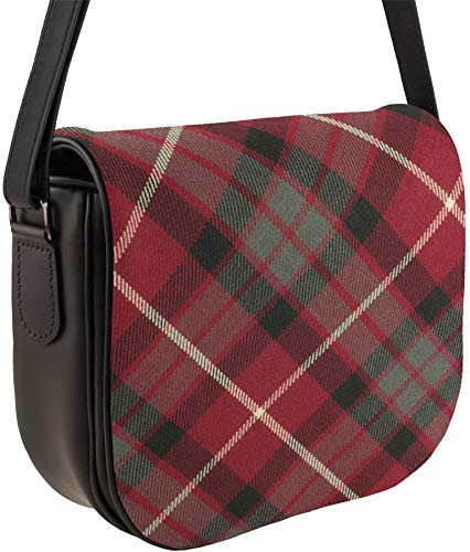 Red Handbag Inside Back Fraser and Shoulder Tartan with Pocket with Leather Bag xOqwXC8X