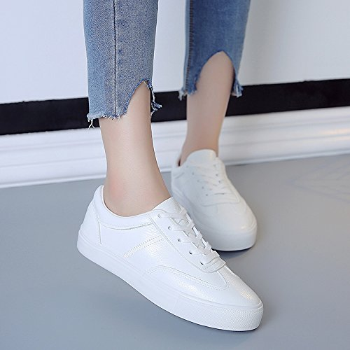 zapatos coreana confortBlancoCuarenta Otoño casual de piso de Cuarenta estudiante mujer y zapatos GTVERNH casuales cordones dos zapatos nuevo versión bajos zapatos 6wTqnxz