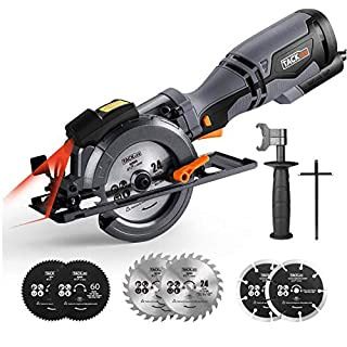 "TACKLIFE Circular Saw with Metal Handle, 6 Blades(4-3/4"" & 4-1/2""), Laser Guide, 5.8A, Max Cutting Depth 1-11/16'' (90°), 1-3/8'' (45°), Ideal for Wood, Soft Metal, Tile and Plastic Cuts - TCS115A"