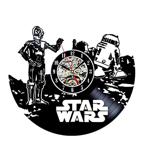 [C3PO R2D2 Star Wars Art Wall Clock Decor Vintage Black Vinyl Gift Room Wedding Party] (Father Son Star Wars Costumes)