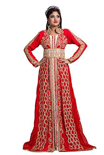 palasfashion Damen bestickt Creap Kaftan Kleid Rot 2KrWmrx