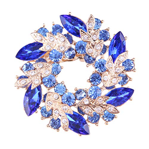 seven wolves Women's Bauhinia Crystal Elegant Flower Bridal Corsage Brooch Pin Clear ()