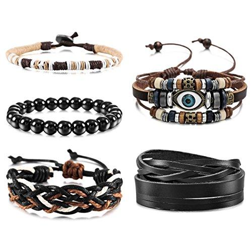 - MOWOM 5PCS Brown Black Alloy Genuine Leather Wood Bracelet Bangle Rope Evil Eye Surfer Wrap Adjustable Set