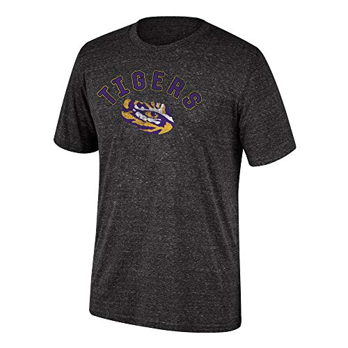 Top of the World NCAA Men's Lsu Tigers Dark Heather Heritage Tri-blend Tee Black Heather X Large