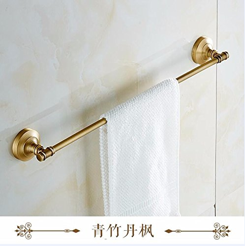 Hlluya Bathroom Accessory Set The Brass Single Lever Towel Rack Antique Carved Towel Bars Towel Plain Copper, Single Lever, 55cm Bronze 55 Lever Single