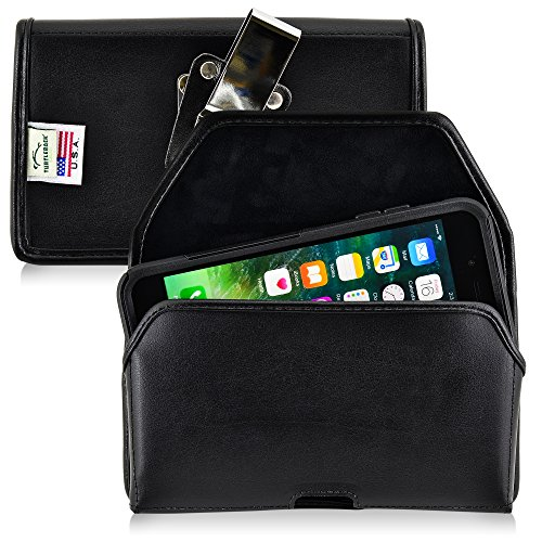 Turtleback Belt Case Compatible with Apple iPhone 8 Plus & iPhone 7 Plus w/Otterbox Commuter case Black Holster Leather Pouch with Heavy Duty Rotating Ratcheting Belt Clip Horizontal Made in USA ()