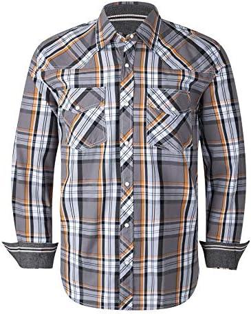 VENZULIA Men's Western Snap Shirt Long Sleeve Regular Fit Plaid Shirts