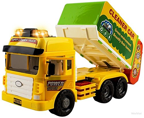 WolVol Heavy Duty Friction Powered Garbage Truck Toy with Lights and Sounds for Kids (Can Open 2 Front Doors and Back), 4 Different Sound Effects
